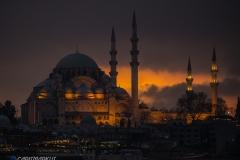 Blaue Moschee im Sonnenuntergang